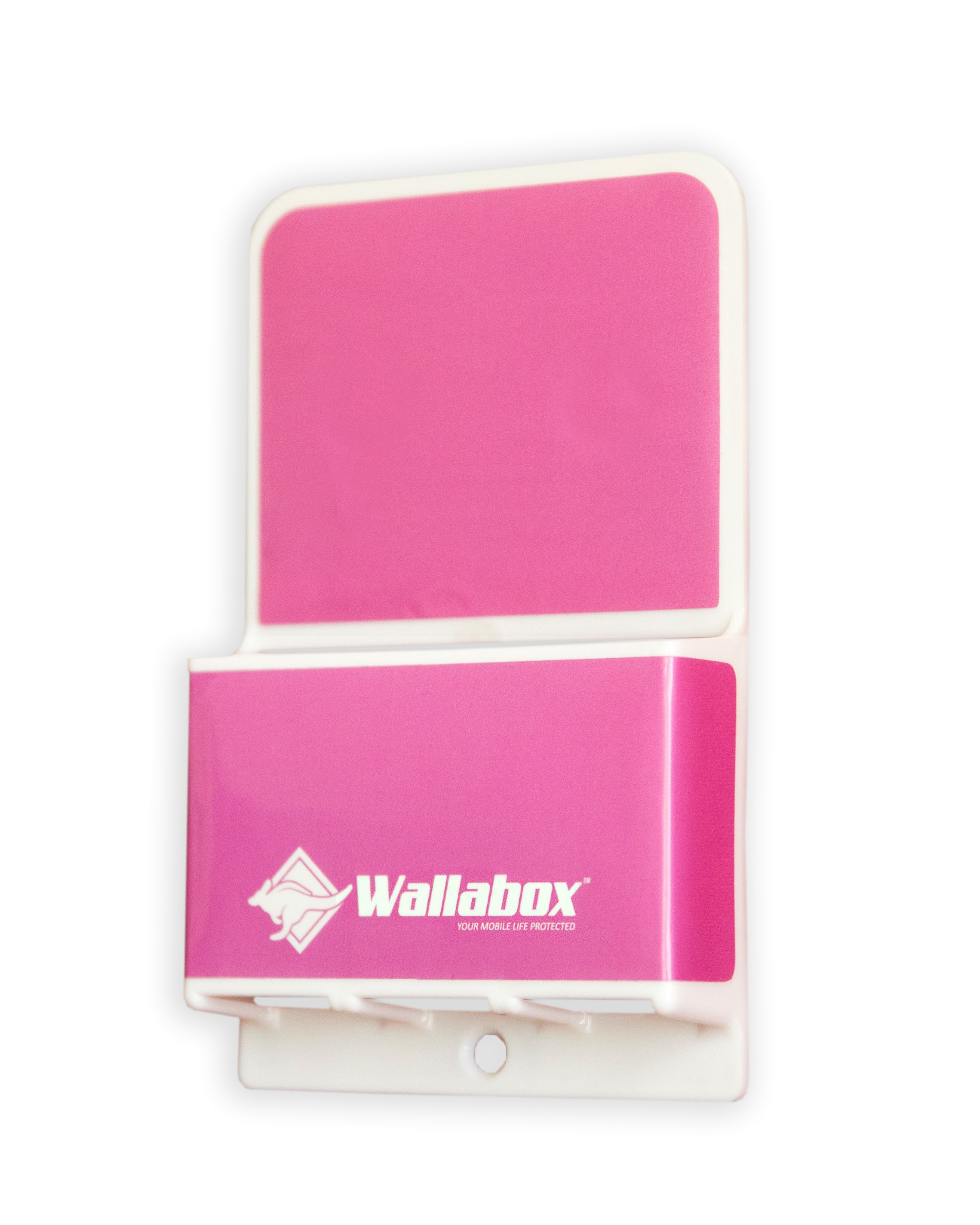 Universal Wall Mount Cell Phone Holder - In Hot Pink - Side View
